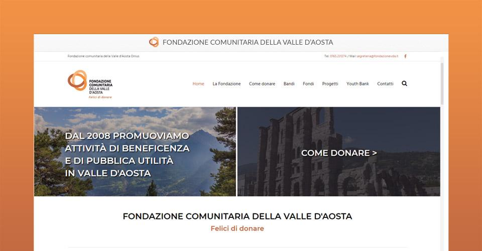 Nuovo sito della Fondazione comunitaria della Valle D'Aosta - Fondazione Vda - Tre W siti web